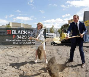 Lord Mayor Lisa Scaffidi and Blackburne Founder and Managing Director Paul Blackburne breaking ground at Oracle